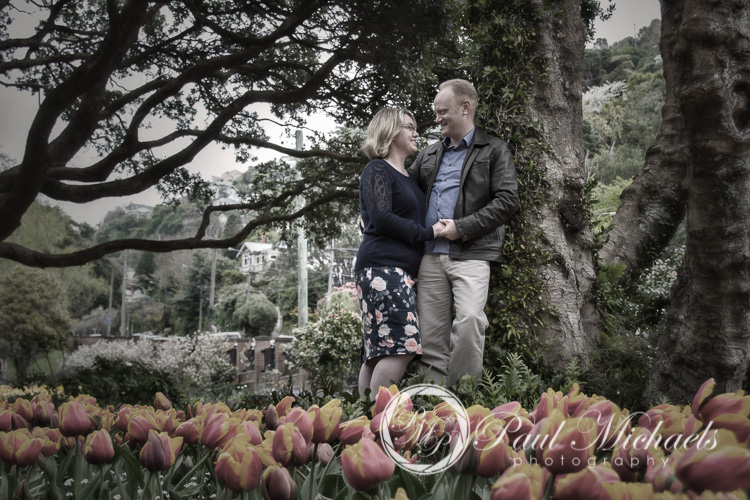 Engagement portraits with the Spring flowers.