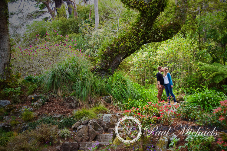 Couple portraits with David and Amy in the botanical gardens.
