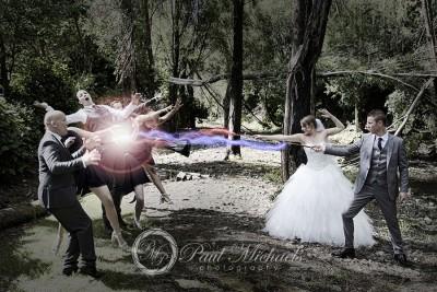 Magic wand battle with Christian and Stephanie.
